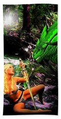 Encounter With A Dragon Beach Towel