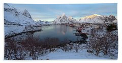 Beach Towel featuring the photograph End Of Day, Reine, Lofoten,  by Dubi Roman