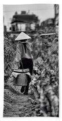 End Of The Day Vietnamese Woman  Beach Towel by Chuck Kuhn