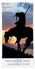 End Of The Trail Sculpture In A Sunset Beach Towel