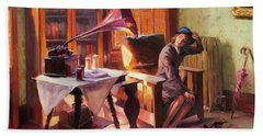 Beach Towel featuring the painting Ending The Day On A Good Note by Steve Henderson