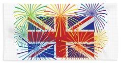 England Jack Union Flag Fireworks Illustrationing Evening Blu Beach Towel
