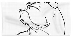 English Bulldog Gesture Sketch Beach Towel