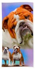 English Bulldog- No Border Beach Towel
