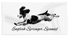 Beach Towel featuring the digital art English Springer Spaniel by Ann Lauwers