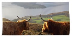 Enjoying The View - Highland Cattle Beach Towel