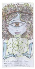 Beach Towel featuring the drawing Enlightened Alien by Similar Alien