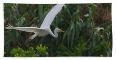 Enter The Great Egret 5 Digitalart Beach Sheet