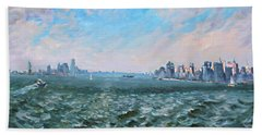 Entering In New York Harbor Beach Towel by Ylli Haruni