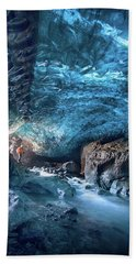 Entering The Ice Cave Beach Towel