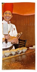 Entertaining Chef At Benihana In Monterey-california Beach Sheet