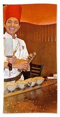 Entertaining Chef At Benihana In Monterey-california Beach Towel