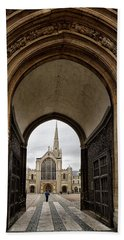 Entrance To Norwich Cathedral  Beach Towel by Shirley Mitchell