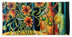 Entwining Poppies Beach Towel
