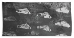 Beach Sheet featuring the painting Eoliths Grayscale by Robin Maria Pedrero