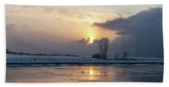 Erie Sunset On Lake Michigan Beach Towel