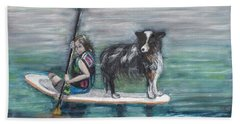 Erin And Oakie On The Paddle Board Beach Sheet