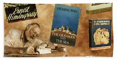 Ernest Hemingway Books 2 Beach Towel by Andrew Fare