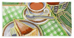 Eroica Britannia Bakewell Pudding And Cup Of Tea On Green Beach Towel