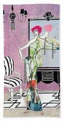 Erte'-esque -- Art Deco Interior W/ Fashion Figure Beach Towel