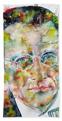 Beach Sheet featuring the painting Erwin Schrodinger - Watercolor Portrait by Fabrizio Cassetta
