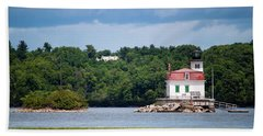 Esopus Lighthouse In July 2016 #1 Beach Sheet by Jeff Severson