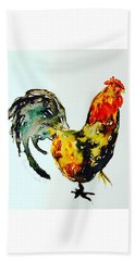 Beach Towel featuring the painting Essence Of Rooster by Monique Faella