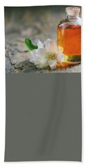 Essential Oil With Jasmine Flower Beach Sheet
