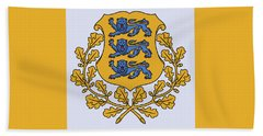 Estonia Coat Of Arms Beach Towel by Movie Poster Prints