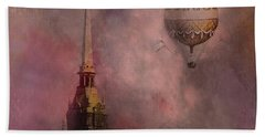 Beach Towel featuring the digital art Stockholm Church With Flying Balloon by Jeff Burgess