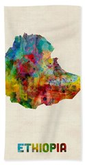 Beach Towel featuring the digital art Ethiopia Watercolor Map by Michael Tompsett