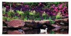 Ethreal Beauty At The Azalea Pond Beach Towel by Tamyra Ayles