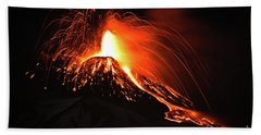 Beach Sheet featuring the pyrography Etna by Bruno Spagnolo