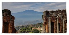 Etna From The Greek Theater Beach Towel