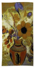 Beach Towel featuring the painting Etrusian Vase With Flowers by Odilon Redon