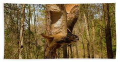 Eurasian Eagle Owl In Flight Beach Sheet