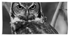 Eurasian Eagle Owl Monochrome Beach Towel