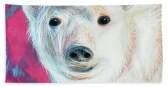 Beach Towel featuring the painting Even Polar Bears Love Pink by Angela Treat Lyon