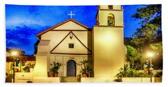 Evening At Mission San Buenaventura Beach Towel