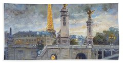 Evening At Pont Du Alexandre, Paris Beach Towel