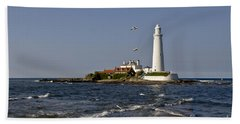Evening At St. Mary's Lighthouse Beach Towel