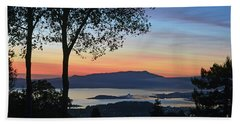 Evening Before Lunar Eclipse Beach Towel