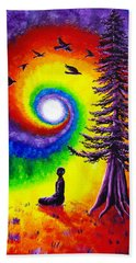 Evening Chakra Meditation Beach Sheet by Laura Iverson