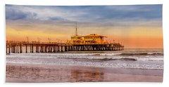 Evening Glow At The Pier Beach Sheet