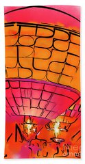 Beach Towel featuring the digital art Evening Glow Red And Yellow Watercolor by Kirt Tisdale