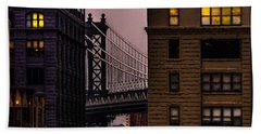 Beach Towel featuring the photograph Evening In Dumbo by Chris Lord
