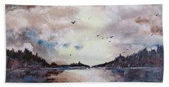 Beach Sheet featuring the painting Evening Light by Geni Gorani