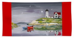 Beach Towel featuring the painting Evening Lighthouse by Phyllis Kaltenbach
