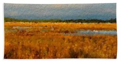 Evening Marsh Glow Beach Sheet by Anthony Fishburne