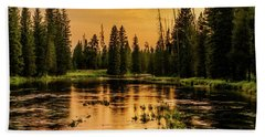 Beach Towel featuring the photograph Evening On The Henry's Fork  by TL Mair